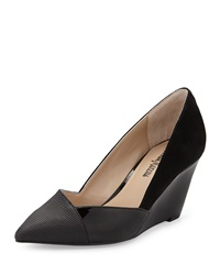 Neiman Marcus Mara Mixed Media Pointy Wedge Black