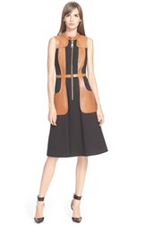 Women's Tracy Reese 'Felicity' Faux Leather Trim Dress