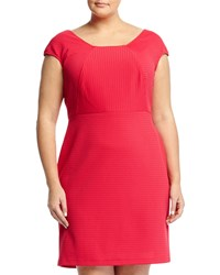 Julie Jordan Plus Square Neck Eyelet Stitch Dress Fuchsia