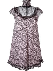 Giamba Ruffled Babydoll Dress Pink And Purple