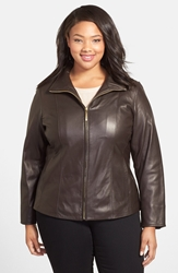 Leather Scuba Jacket Plus Size Brown