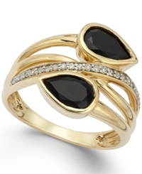 Macy's Onyx 1 3 8 Ct. T.W. And Diamond 1 10 Ct. T.W. Ring In 14K Gold Yellow Gold