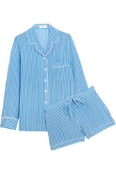 Equipment Lillian Striped Washed Silk Pajama Set Blue