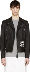 Off White Black Bull Leather Biker Jacket