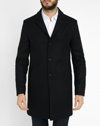 Ikks Midnight Blue Removable Lining Ribbed Collar Wool Coat Black