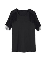 Diesel Black Gold Trange Fringed T Shirt Black