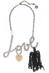Lanvin Gunmetal Tone Crystal Faux Pearl And Ribbon Necklace Metallic