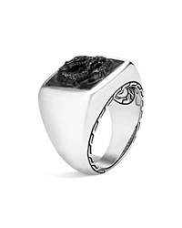 John Hardy Sterling Silver Legends Naga Signet Ring With Black Onyx Black Silver