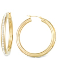 Signature Gold Signatuare Gold Crystal Hoop Earrings In 14K Gold Yellow Gold