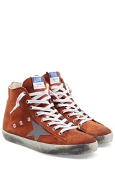 Golden Goose Slide High Top Suede Sneakers Orange