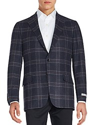 Hickey Freeman Plaid Cashmere Sportcoat Navy