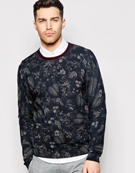 Ted Baker Floral Print Knitted Jumper Navy