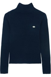 See By Chloe Stretch Knit Turtleneck Sweater Midnight Blue