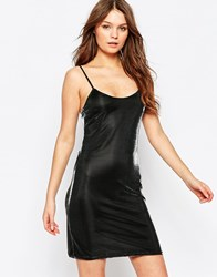 First And I First And I Glitter Sequin Slip Dress Black Shiney