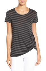 Women's Gibson Twist Front Stripe Tee Black Heather Charcoal