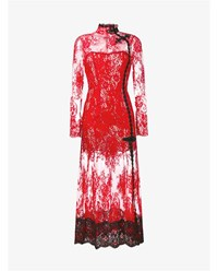 Alessandra Rich Sheer Floral Lace Gown Red Black