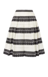Karen Millen Devore Stripe Midi Skirt Black And White