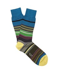 Paul Smith Striped Cotton Blend Socks Green