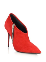 Giuseppe Zanotti Suede Embellished Zip Booties Red Black