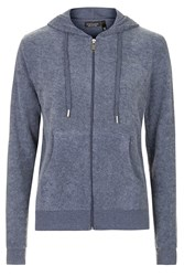 Topshop Brushed Zip Up Hoodie Navy Blue