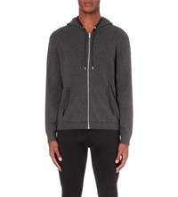 The Kooples Wool Blended Hooded Cardigan Dark Grey Black