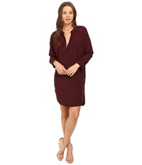 Michael Stars Modern Rayon 3 4 Sleeve Split Neck Dress Rosewood Women's Dress Red