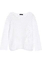 Rag And Bone Malory Silk Satin Trimmed Open Knit Cotton Sweater White