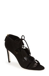 Women's Delman 'Jolie' Lace Up Sandal Black Suede