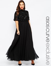 Asos Curve Red Carpet Maxi Dress With Tiered Embellished Crop Top Black