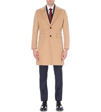 Hardy Amies Single Breasted Wool And Cashmere Blend Overcoat Camel