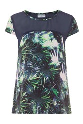 Wolf And Whistle Palm Print Panelled Top Multi Coloured