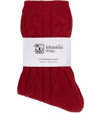 Johnstons Cable Knit Cashmere Socks Jasper