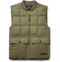 Neighborhood Quilted Bruhed Cotton Blend Down Gilet Army Green