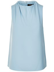 Jaeger Ruched Neck Sleeveless Top Sky Blue