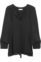 Chloe Beaded Tasseled Silk Crepe De Chine Blouse Black
