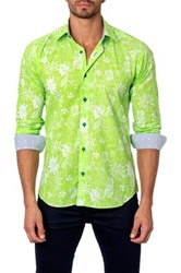 Jared Lang Long Sleeve Floral Print Semi Fitted Shirt Green