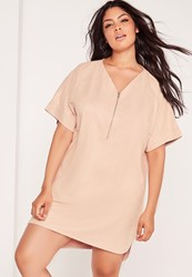 Missguided Plus Size Faux Suede Zip Up Shift Dress Nude Grey