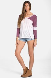 Junior Women's Billabong 'Moonlit Nights' Baseball Tee Black Cherry