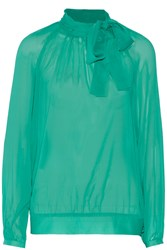 Red Valentino Pussy Bow Silk Blend Chiffon Top Green