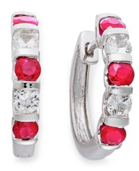 Macy's Sterling Silver Earrings Ruby 1 3 8 Ct. T.W. And White Sapphire 9 10 Ct. T.W. Hoop Earrings