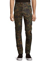 Burberry Camo Print Silk Blend Trousers Dark Cedar