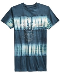 Ring Of Fire Eagle Tie Dye Graphic Print Logo T Shirt Navy Tie Die