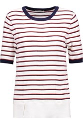 Equipment Brienne Striped Cotton And Cashmere Blend Sweater White
