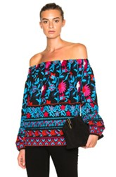 Tanya Taylor Nessa Top In Blue Red Floral Blue Red Floral