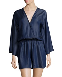 Fraiche By J Surplice Neck Long Sleeve Short Jumpsuit Denim