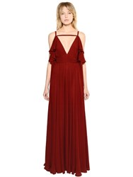 Elie Saab Open Shoulder Double Georgette Dress