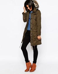 Pepe Jeans Harper Parka With Faux Fur Hood 728Olive Green