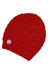 Canada Goose Women's Slouchy Basketweave Beanie Red