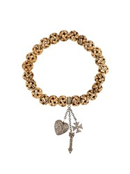 Loree Rodkin Carved Beads Diamond Charm Bracelet Nude And Neutrals