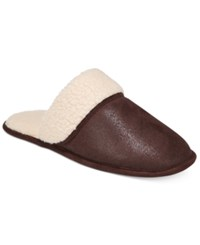 Club Room Men's Slippers Steiger Brown Sherpa Scuff Slippers